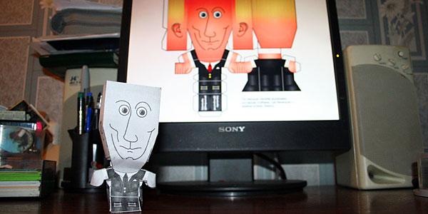 """Поделка """"Путин"""". Может быть использована на рабочем столе взамен настенного портрета"""