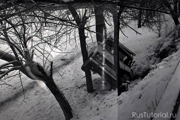 На снимке видно, что впереди автомобиля должно быть оградительное дерево