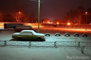 Перед началом возведения снежного автомобиля