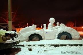 Общий вид автомобиля из снега